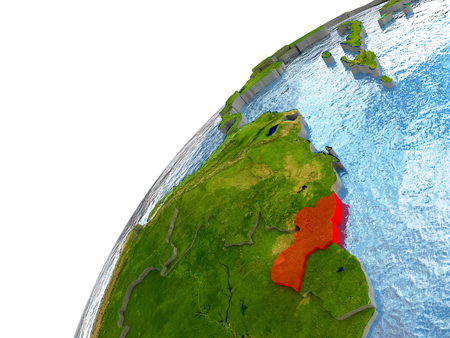 Guyana highlighted in red with surrounding region. 3D illustration with highly detailed realistic planet surface and reflective ocean waters. Stock Photo