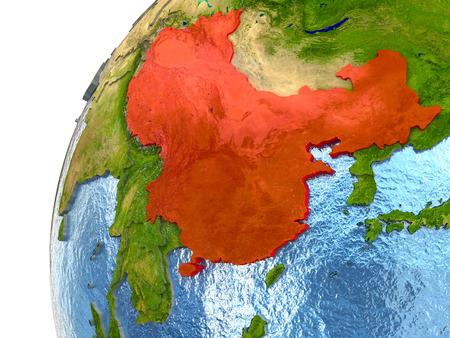 China highlighted in red with surrounding region. 3D illustration with highly detailed realistic planet surface and reflective ocean waters.