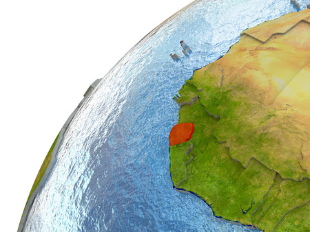 Sierra Leone highlighted in red with surrounding region. 3D illustration with highly detailed realistic planet surface and reflective ocean waters.