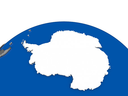 Map of Antarctica with embedded flag on globe. 3D illustration