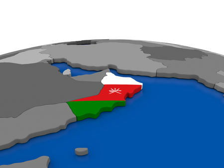 embedded: Map of Oman with embedded flag on globe. 3D illustration Stock Photo