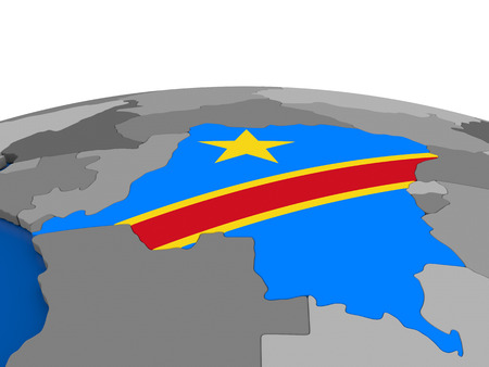 democratic: Map of Democratic Republic of Congo with embedded flag on globe. 3D illustration