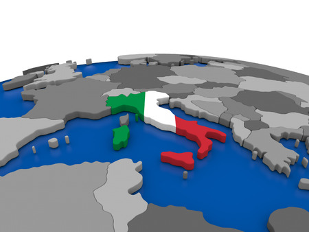 embedded: Map of Italy with embedded flag on globe. 3D illustration