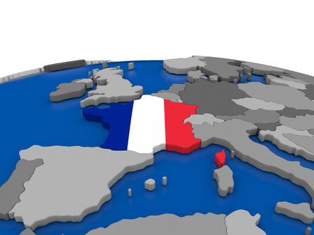embedded: Map of France with embedded flag on globe. 3D illustration