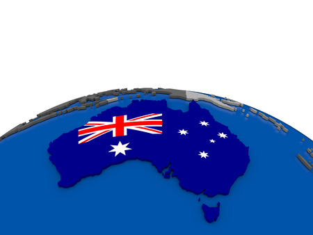 aussie: Map of Australia with embedded flag on globe. 3D illustration