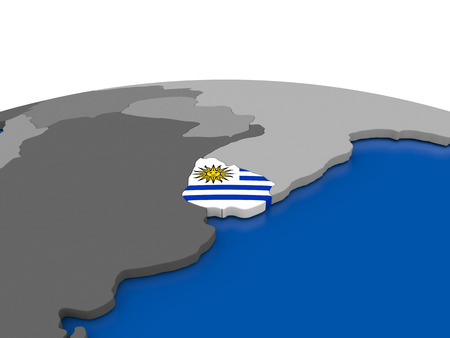 embedded: Map of Uruguay with embedded flag on globe. 3D illustration Stock Photo