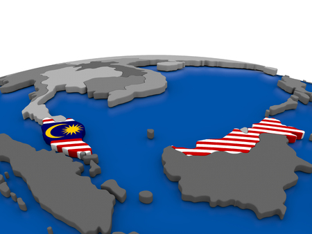 embedded: Map of Malaysia with embedded flag on globe. 3D illustration