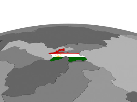 embedded: Map of Tajikistan with embedded flag on globe. 3D illustration