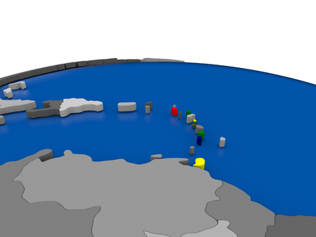 embedded: Map of Caribbean with embedded flag on globe. 3D illustration