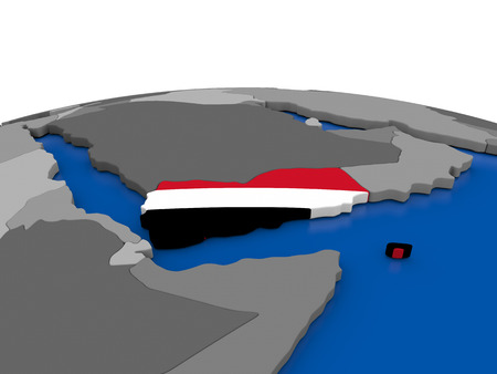 yemen: Map of Yemen with embedded flag on globe. 3D illustration