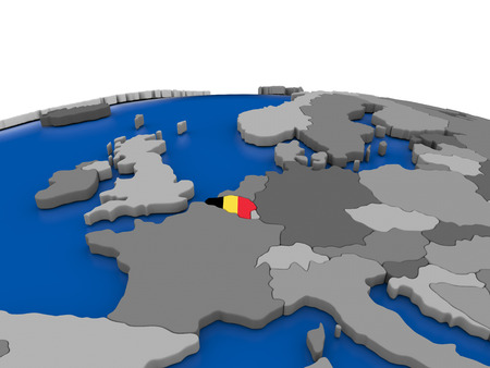 embedded: Map of Belgium with embedded flag on globe. 3D illustration