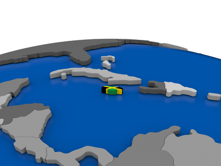embedded: Map of Jamaica with embedded flag on globe. 3D illustration