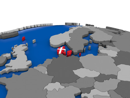 embedded: Map of Denmark with embedded flag on globe. 3D illustration