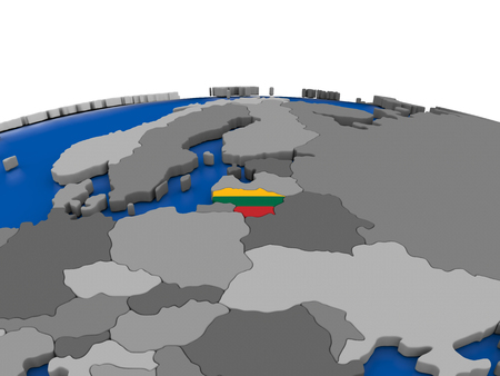 embedded: Map of Lithuania with embedded flag on globe. 3D illustration