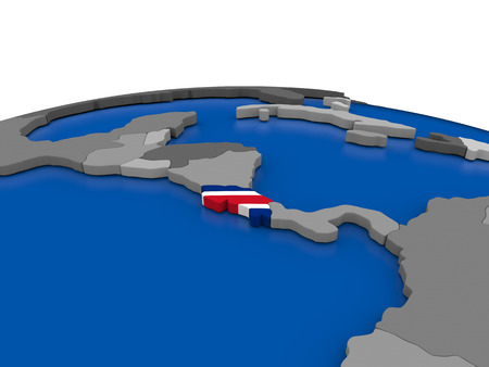 Map of Costa Rica with embedded flag on globe. 3D illustration