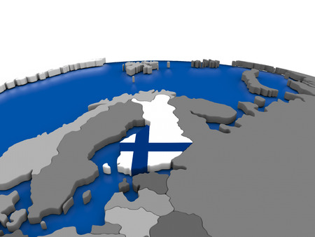embedded: Map of Finland with embedded flag on globe. 3D illustration