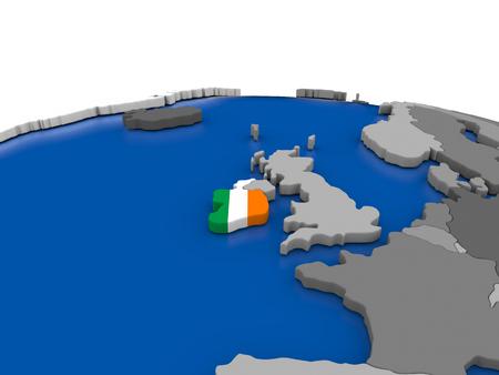 irish map: Map of Ireland with embedded flag on globe. 3D illustration Stock Photo
