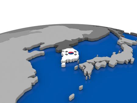 korean national: Map of South Korea with embedded flag on globe. 3D illustration Stock Photo