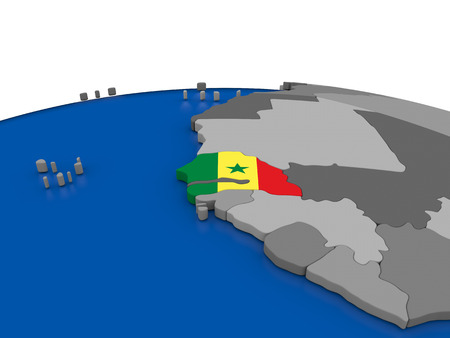 embedded: Map of Senegal with embedded flag on globe. 3D illustration
