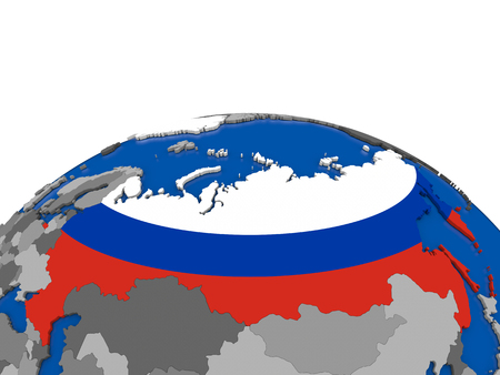 embedded: Map of Russia with embedded flag on globe. 3D illustration
