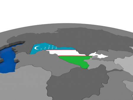 embedded: Map of Uzbekistan with embedded flag on globe. 3D illustration Stock Photo