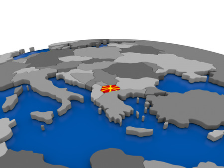 embedded: Map of Macedonia with embedded flag on globe. 3D illustration Stock Photo