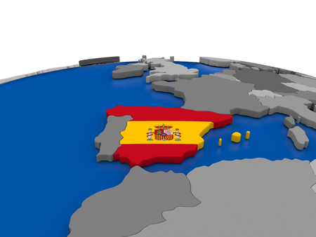 embedded: Map of Spain with embedded flag on globe. 3D illustration