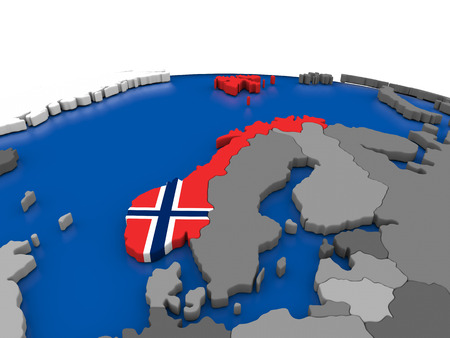 Map of Norway with embedded flag on globe. 3D illustration