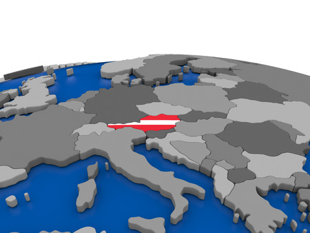embedded: Map of Austria with embedded flag on globe. 3D illustration