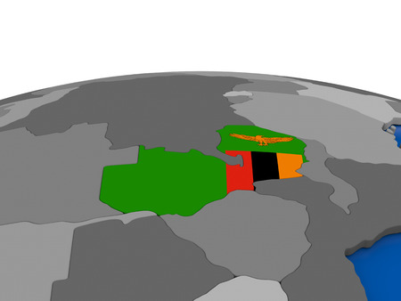 embedded: Map of Zambia with embedded flag on globe. 3D illustration Stock Photo