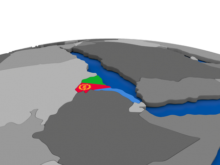 eritrea: Map of Eritrea with embedded flag on globe. 3D illustration Stock Photo