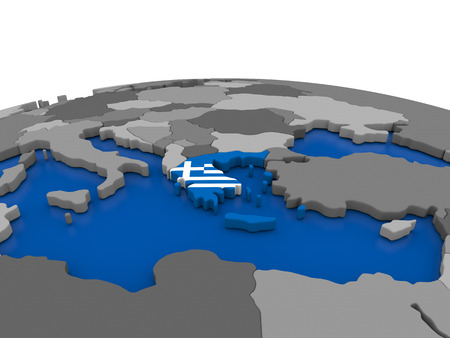 embedded: Map of Greece with embedded flag on globe. 3D illustration