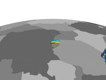 embedded: Map of Rwanda with embedded flag on globe. 3D illustration