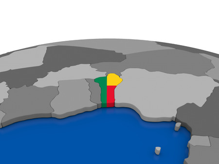 embedded: Map of Benin with embedded flag on globe. 3D illustration