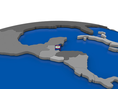 embedded: Map of Belize with embedded flag on globe. 3D illustration