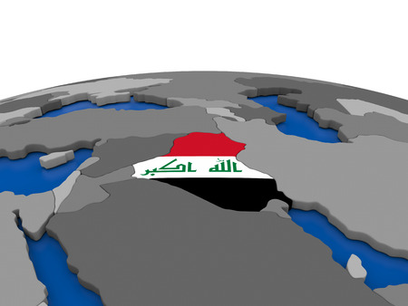 embedded: Map of Iraq with embedded flag on globe. 3D illustration