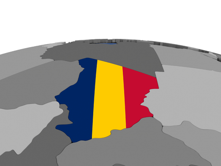 chadian: Map of Chad with embedded flag on globe. 3D illustration