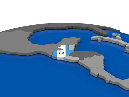 Map of Guatemala with embedded flag on globe. 3D illustration Stock Photo