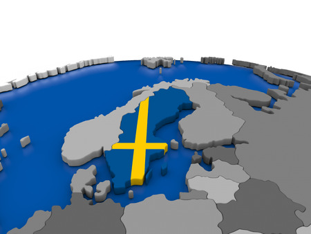 sverige: Map of Sweden with embedded flag on globe. 3D illustration Stock Photo