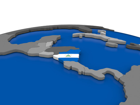 embedded: Map of Nicaragua with embedded flag on globe. 3D illustration