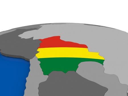 mapa de bolivia: Map of Bolivia with embedded flag on globe. 3D illustration Foto de archivo