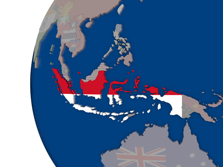 embedded: Map of Indonesia with embedded national flag. 3D illustration Stock Photo