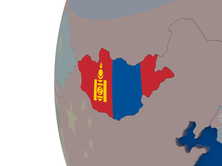 embedded: Map of Mongolia with embedded national flag. 3D illustration