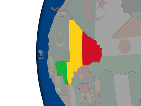embedded: Map of Mali with embedded national flag. 3D illustration