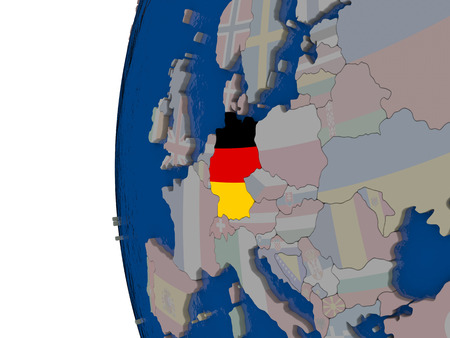 embedded: Map of Germany with embedded national flag. 3D illustration Stock Photo