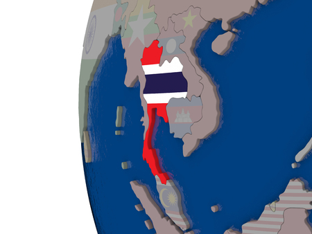 embedded: Map of Thailand with embedded national flag. 3D illustration