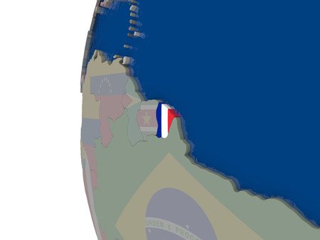 embedded: Map of French Guiana with embedded national flag. 3D illustration Stock Photo