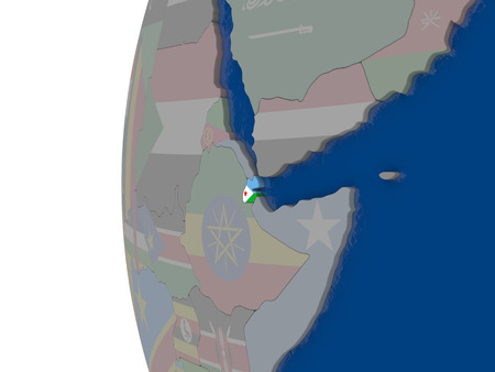 embedded: Map of Djibouti with embedded national flag. 3D illustration Stock Photo
