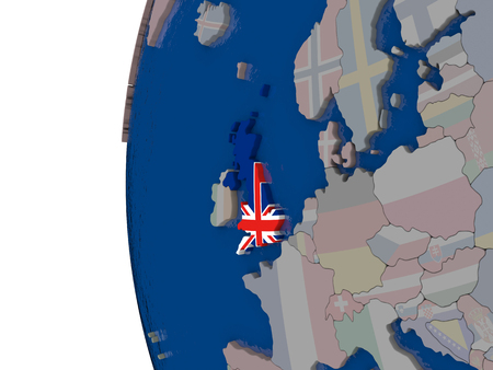 briton: Map of United Kingdom with embedded national flag. 3D illustration