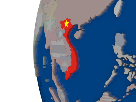 embedded: Map of Vietnam with embedded national flag. 3D illustration